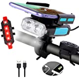 Bike Lights Front and Back, Millketitech 5 in 1 Rechargeable Waterproof USB Bicycle LED Light with Phone Holder,Bicycle Bell