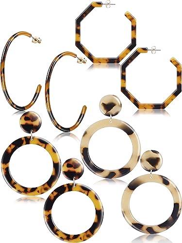 Amazon Com Jetec Acrylic Resin Earrings For Women Tortoise Shell
