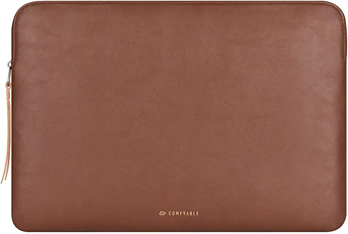 Comfyable Slim Protective Laptop Sleeve 14 Inch, PU Leather Bag Waterproof Cover Notebook Computer Case, Brown