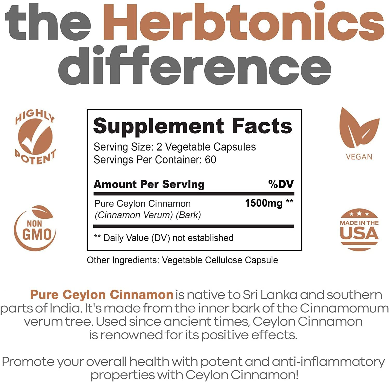 Ceylon Cinnamon Capsules 1500 mg 120 Capsules, True Ceylon Cinnamon, Blood Sugar Levels Support Supplement - Sri Lanka Cinnamon Ceylon Powder Joint Support: Health & Personal Care