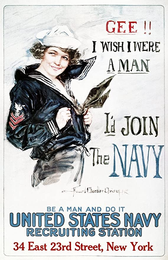 Vintage United States Navy Recruitment Poster Print on Paper or Canvas Giclee