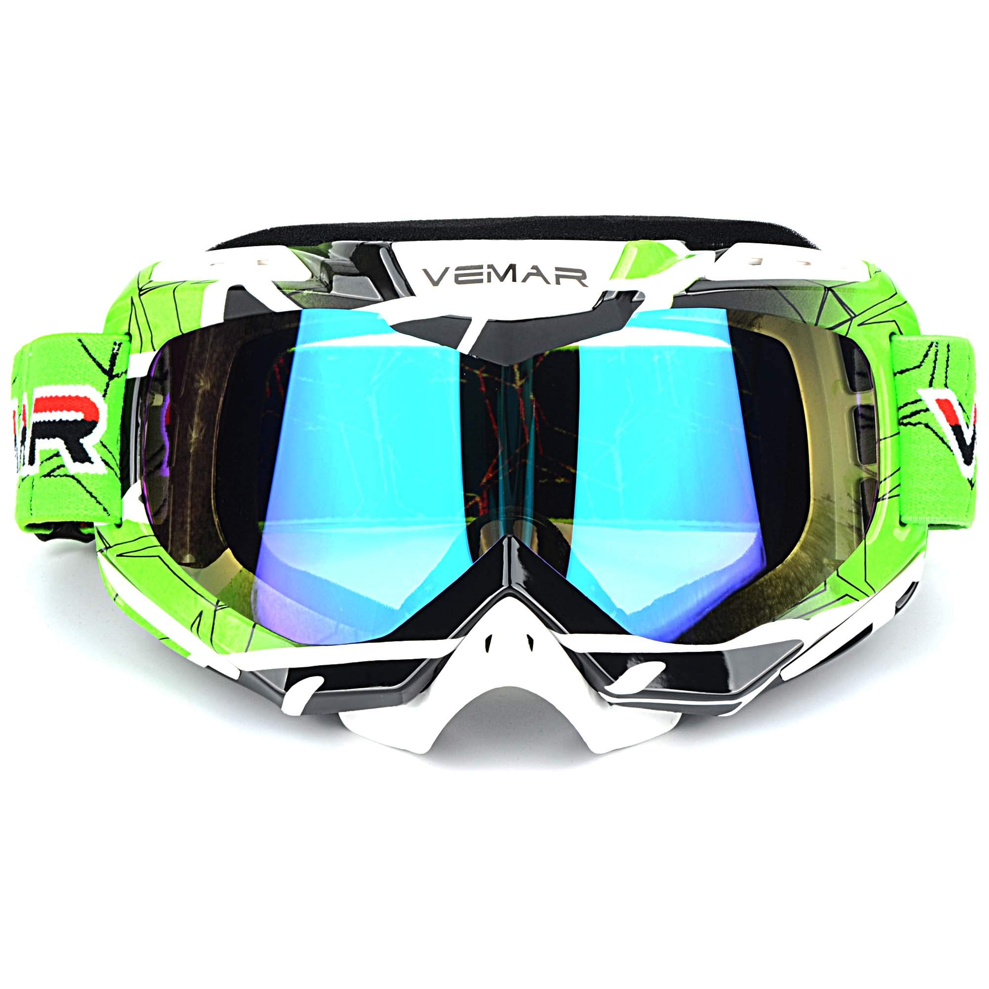 Polarized Sport Motorcycle Motocross Goggles ATV Racing Goggles Dirt Bike Tactical Riding Motorbike Goggle Glasses, Bendable Windproof Dustproof Scratch Resistant Protective Safety Glasses (Green) by Ubelly