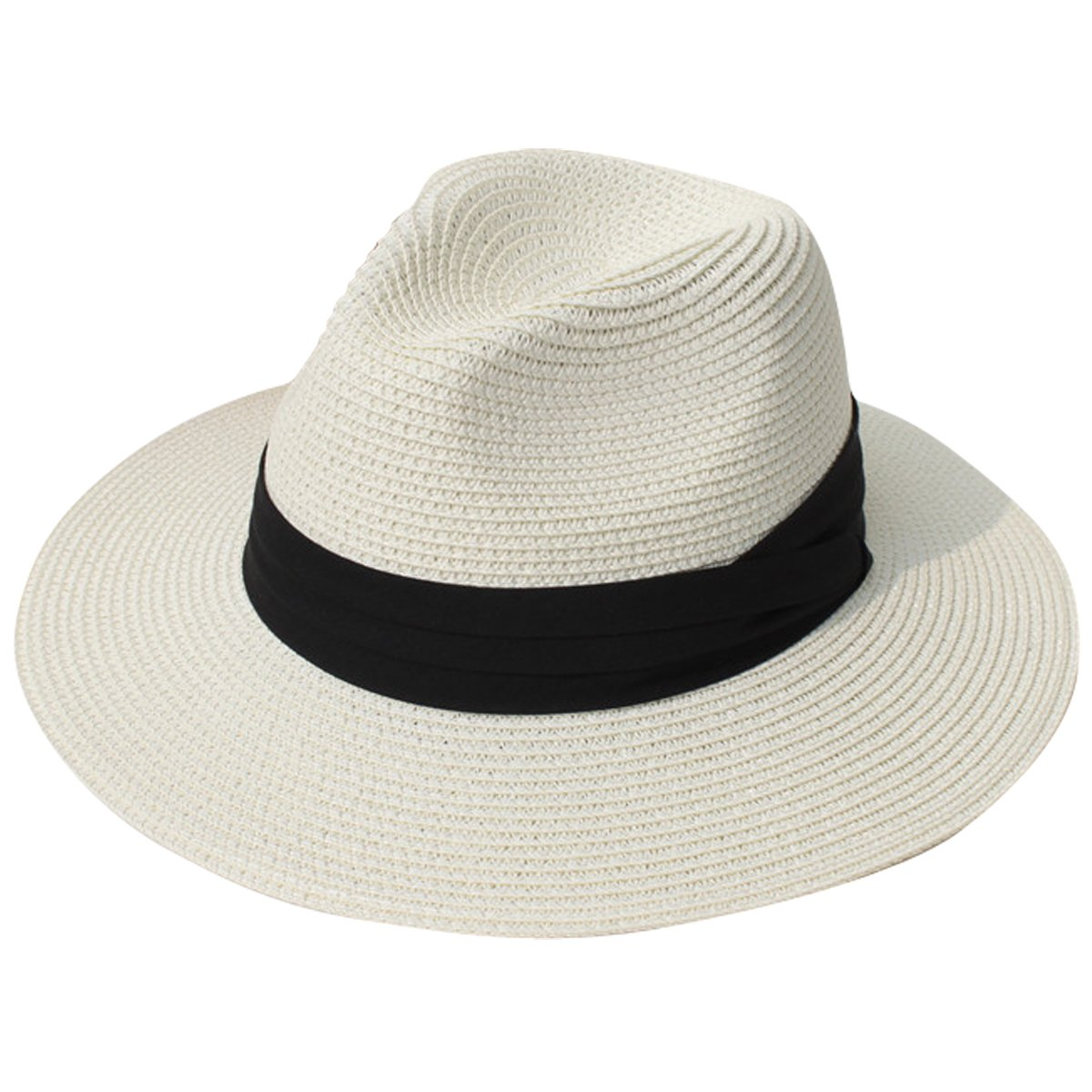 2b7c3a8f05bbf Amazon.com  JOYEBUY Womens UPF50 Foldable Summer Straw Hat Wide Brim Fedora  Sun Beach hat (Beige)  Clothing