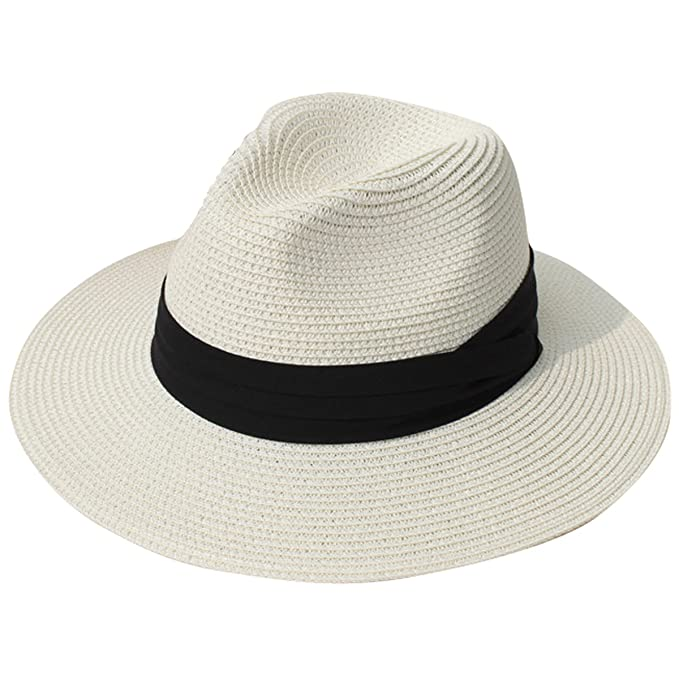 JOYEBUY Womens UPF50 Foldable Summer Straw Hat Wide Brim Fedora Sun Beach  hat (Beige) 10185e1dc26d