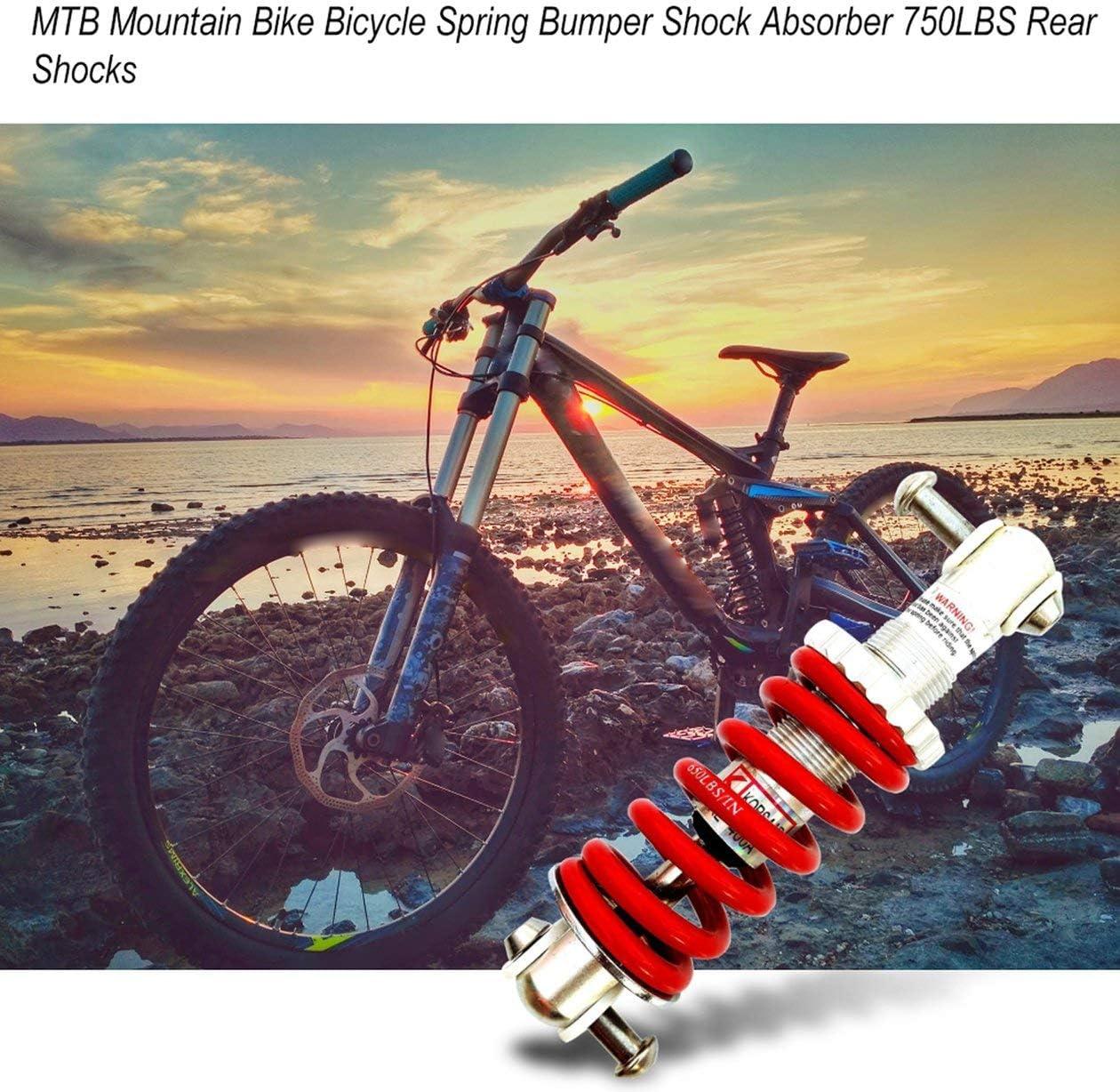 BIYI MTB Mountain Bike Bicycle Spring Bumper Amortiguador 750LBS Aleaci/ón de Aluminio para Piezas de Bicicleta Plegable Amortiguadores Traseros Rojo