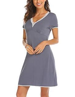 e57d12d5e9fb4e Unibelle Damen Nachthemd Kurzarm Mit Lace Trim V-Ausschnitt Nachtwäsche  Baumwolle Lounge Nachtkleid