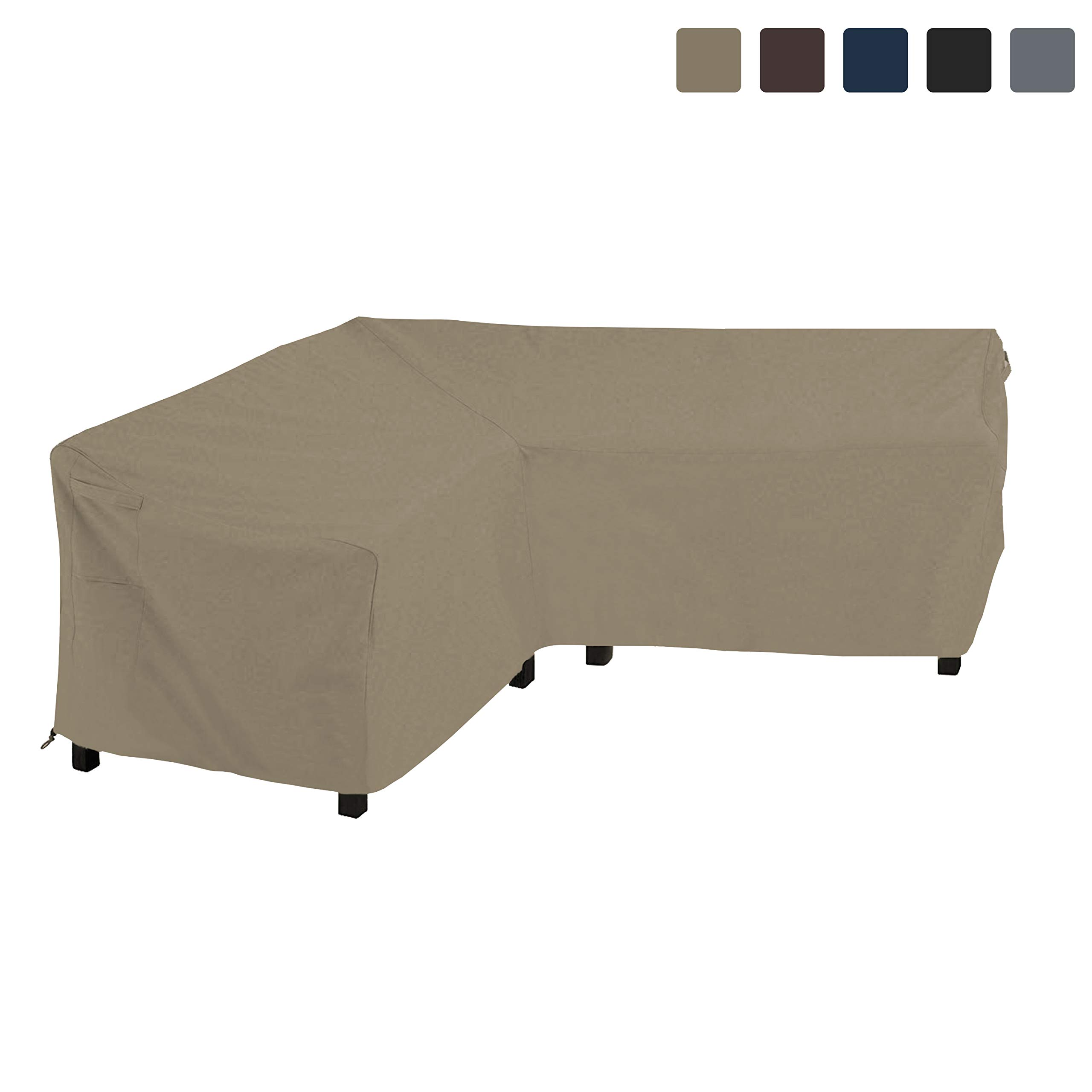 COVERS & ALL Patio Sectional Sofa Cover 12 Oz Waterproof - 100% UV & Weather Resistant PVC Coated 80'' x 80'' x 35''D x 33'' H - L Shape Sofa Cover for Indoor/Outdoor (V Shape Sofa, Beige)