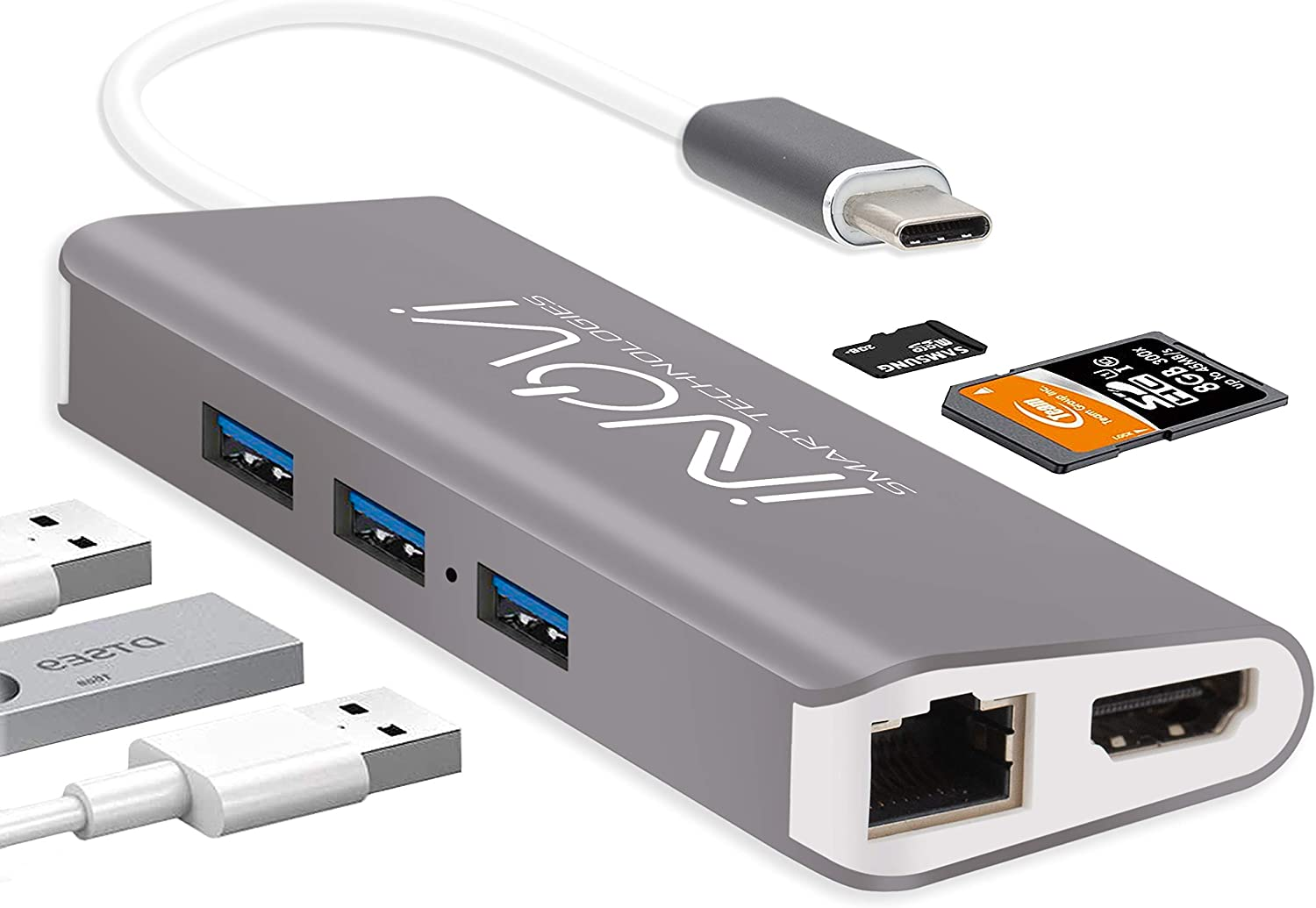 INOVI USB C Hub 8-in-1 Type C Adapter with Ethernet, 4K HDMI,3 USB 3.0,USB-C Data Port and SD/TF Card Reader Docking Station Compatible with MacBook and All USB-C Laptops