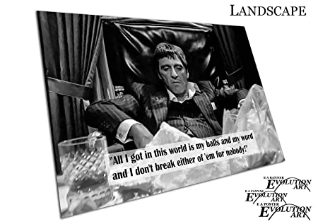 Poster print black white quote american gangster tony montana scarface sizea4