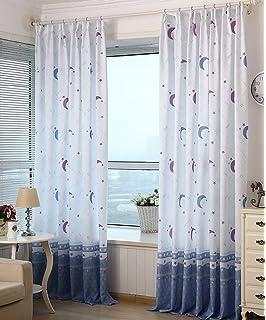yiyida cortinas semiopacas estampadas para habitacin infantil diseo de estrellas y lunas piezas