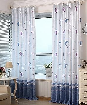 yiyida cortinas semiopacas estampadas para infantil de estrellas y