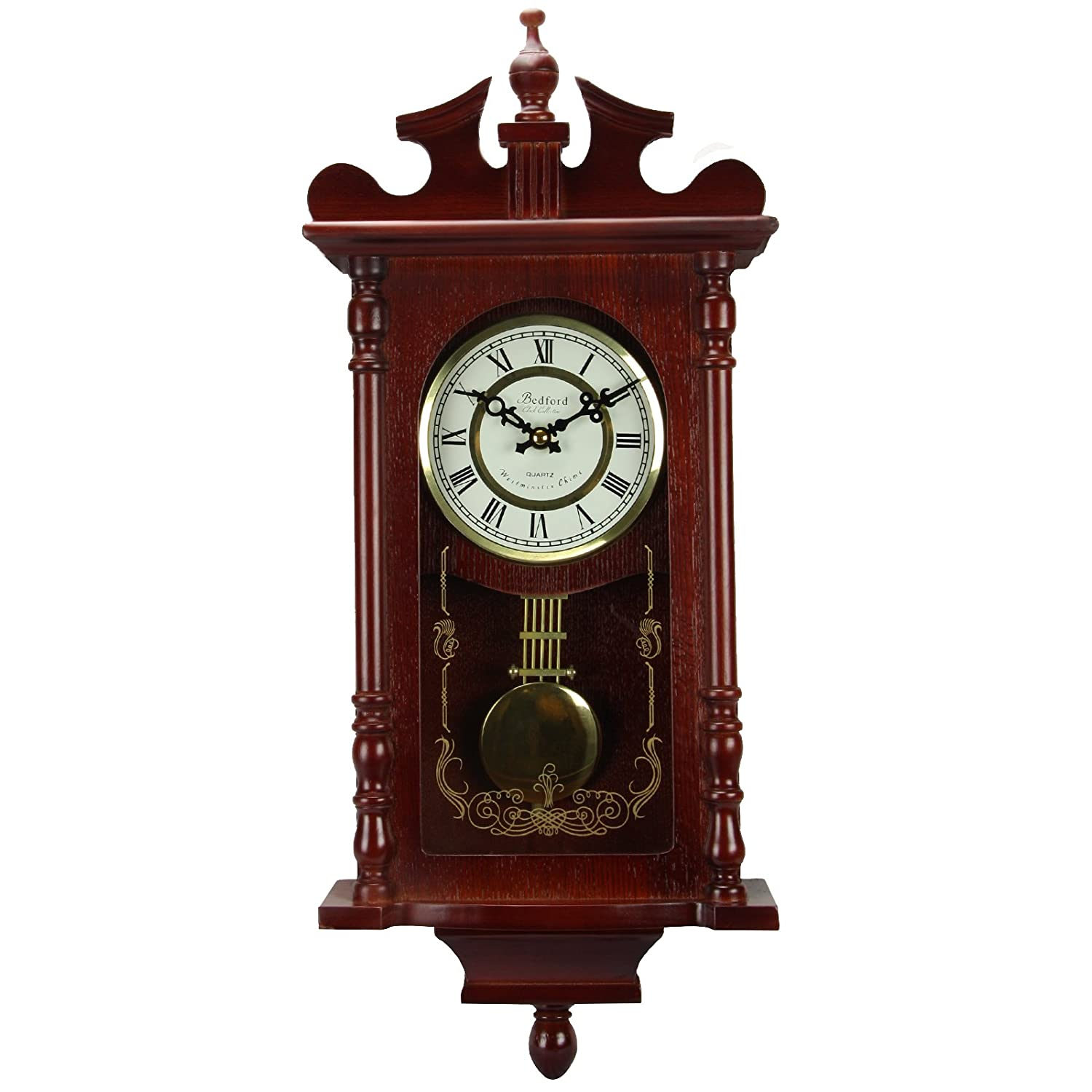 Amazon bedford collection redwood finish 25 wall clock with amazon bedford collection redwood finish 25 wall clock with pendulum and chime home kitchen amipublicfo Image collections