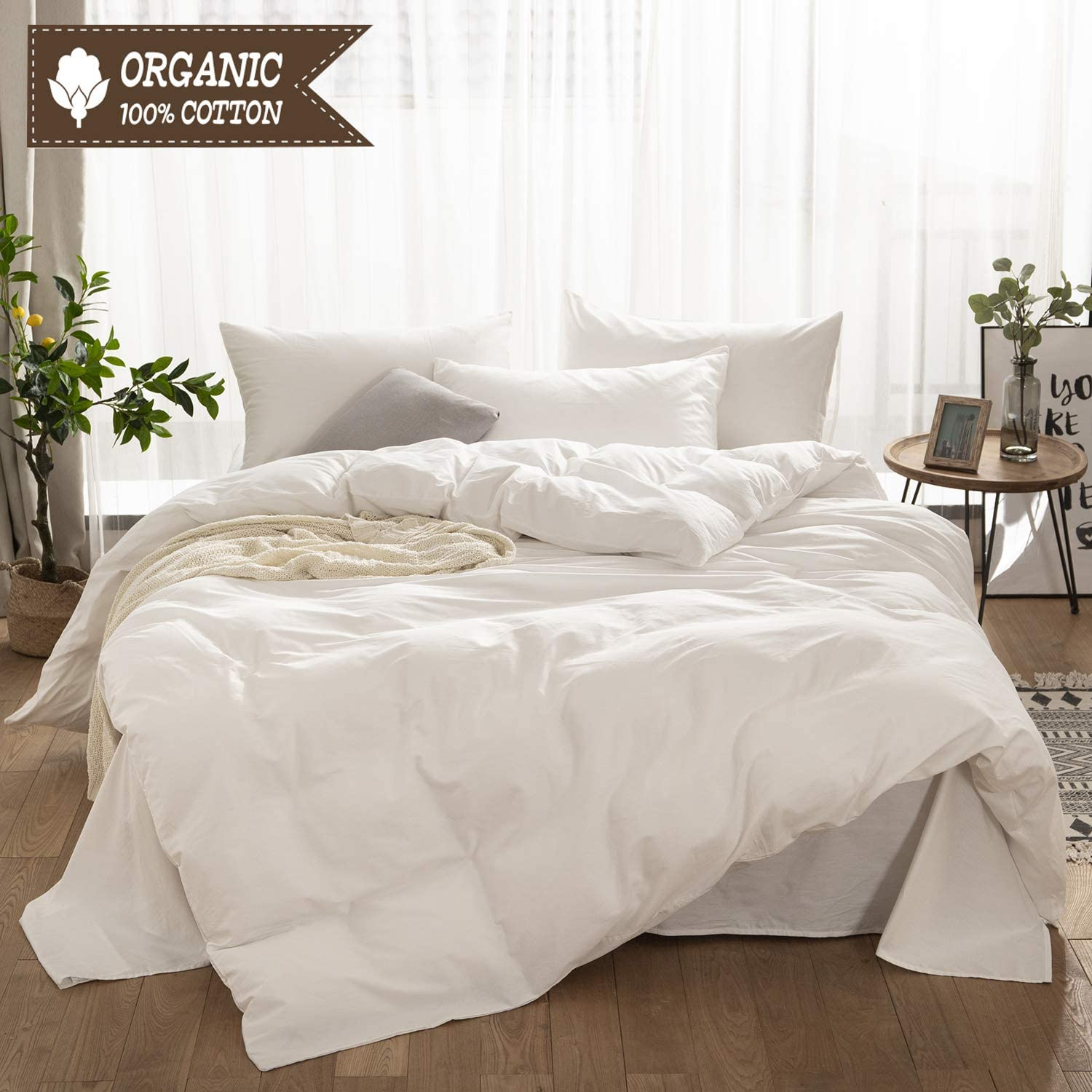 LyTble 3 Pieces Solid Color Ivory White Long Staple Cotton Duvet Cover King Size Soft Breathable Bedding Set with Zipper Ties (Ivory White, King)