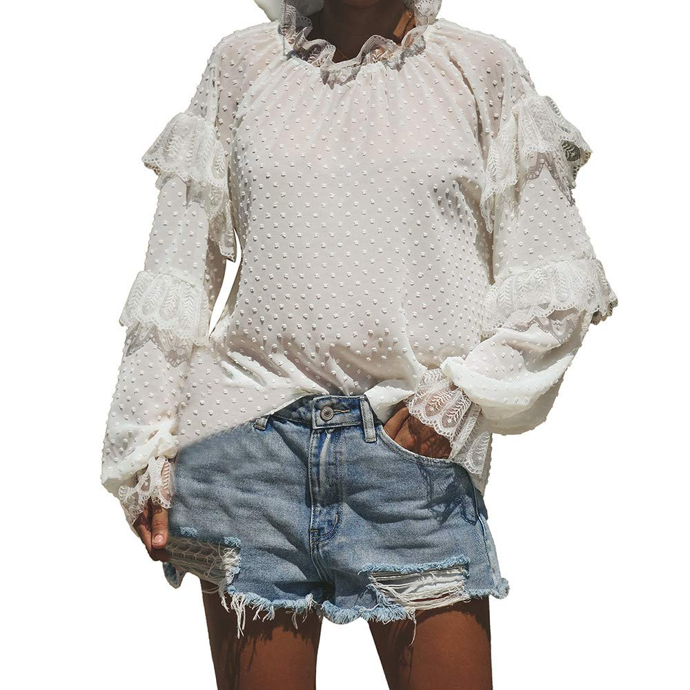 STORTO Womens Lace Splicing Tops, High Collar Solid Long sleevesT-Shirt Blouse White