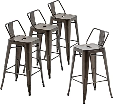 Amazon Com 30 Inch Metal Barstools Set Of 4 Indoor Outdoor Bar Stools With Back Kitchen Dining Counter Stools Bar Chairs Rusty Kitchen Dining