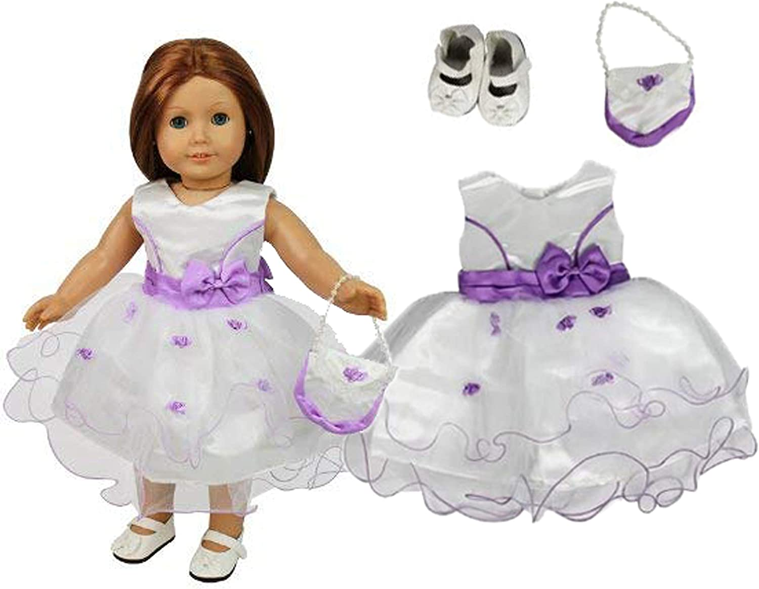 Amazon Com Flower Girl Doll Outfit For American Girl 18 Dolls 3 Piece Set Premium Handmade Wedding Clothes Include Dress Purse Shoes Toys Games