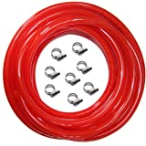 Red Gas Line Air Hose - 25ft Length CO2 Tubing Hose ID 5/16 inch OD 9/16 inch,Include 8 PCS Free Hose Clamps, Used for…