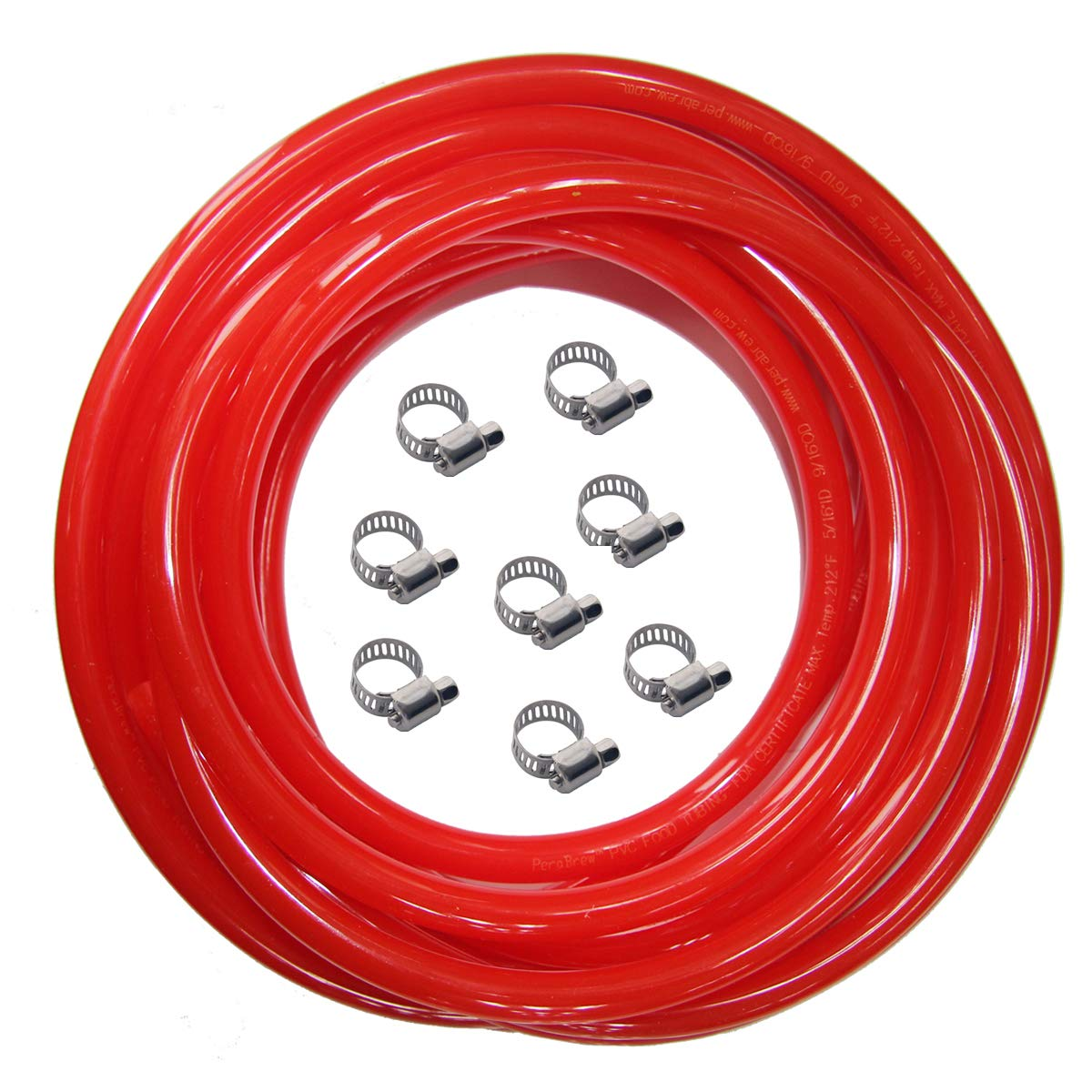 Red Gas Line Air Hose - 25ft Length CO2 Tubing Hose ID 5/16 inch OD 9/16 inch,Include 8 PCS Free Hose Clamps, Used for Draft Beer Home Brewing by LUCKEG