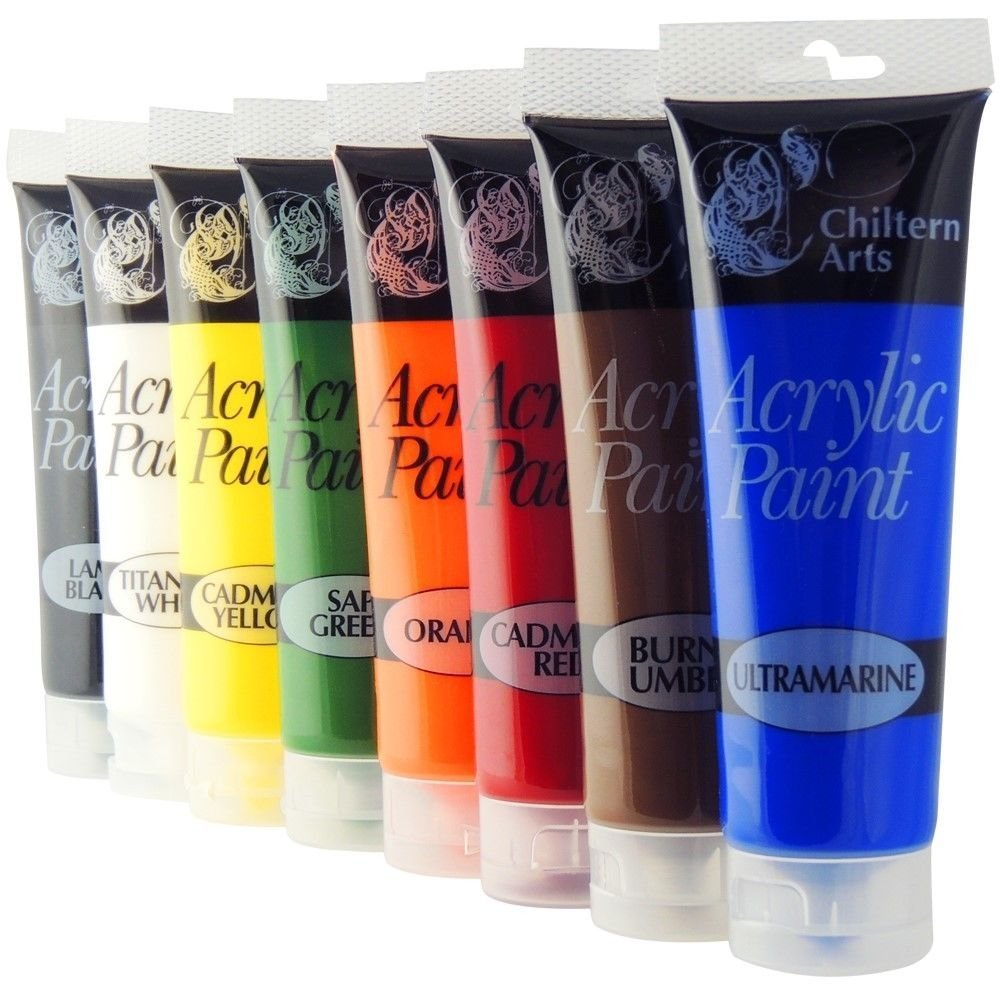 Chiltern Arts 8 Tubes Of Assorted Colour Acrylic Paint - 120ml Tubes 151