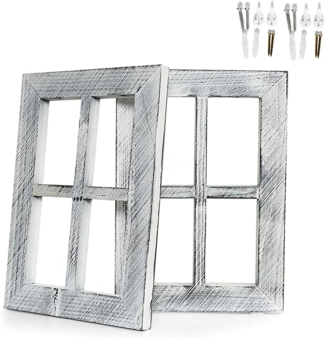 """Vumdua Window Frame Wall Decor, 2 Pack Rustic Window Pane Barnwood Frame Home Decor with Hanging Hardware for Living Room Bedroom Kitchen Fireplace Mantel Office (15.74"""" x 11.02"""" x 0.9"""")"""