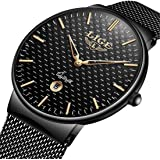 Watch Stainless Steel Classic Simple Luxury Business Casual Watches Waterproof Quartz Milanese Mesh Band Wrist Watch Black