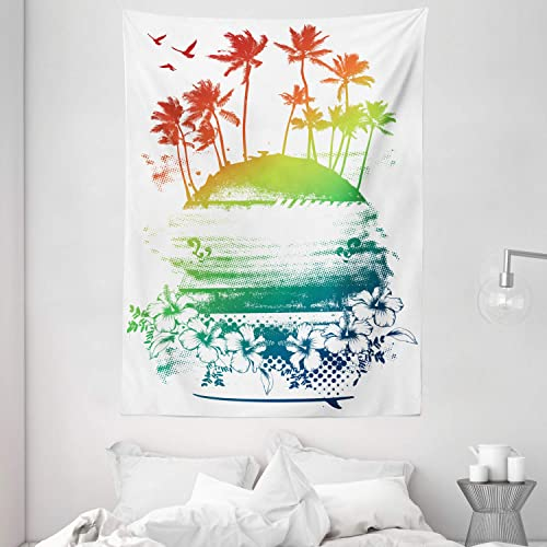 Ambesonne Island Tapestry, Grunge Style Inky Colorful Summer Scenery Palms Hawaiian Hibiscus Flowers, Wall Hanging for Bedroom Living Room Dorm, 60 X 80 , Vermilion Blue