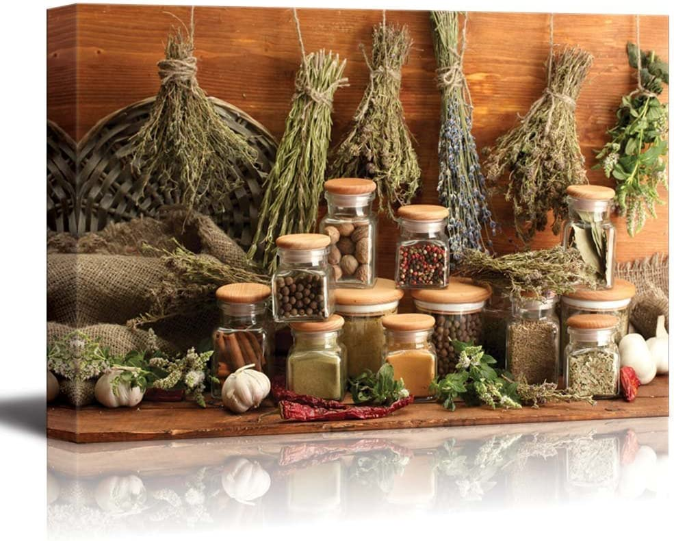"""Canvas Prints Wall Art - Dried Herbs, Spices and and Pepper 