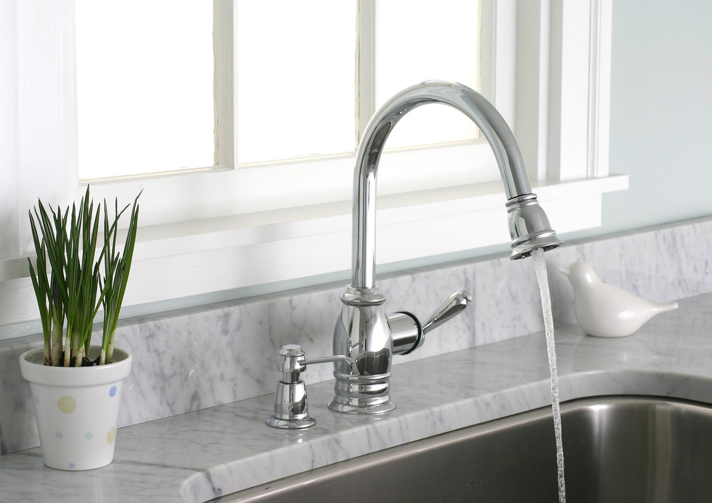 Lovely Premier 120110LF Sonoma Lead Free Pull Down Kitchen Faucet With Matching  Soap Dispenser, Chrome   Touch On Kitchen Sink Faucets   Amazon.com