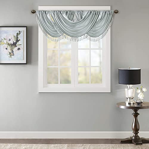 Elena Waterfall Embellished-Rod Pocket Valance , Faux Silk Valances for Window , 38X46 , Dusty Aqua