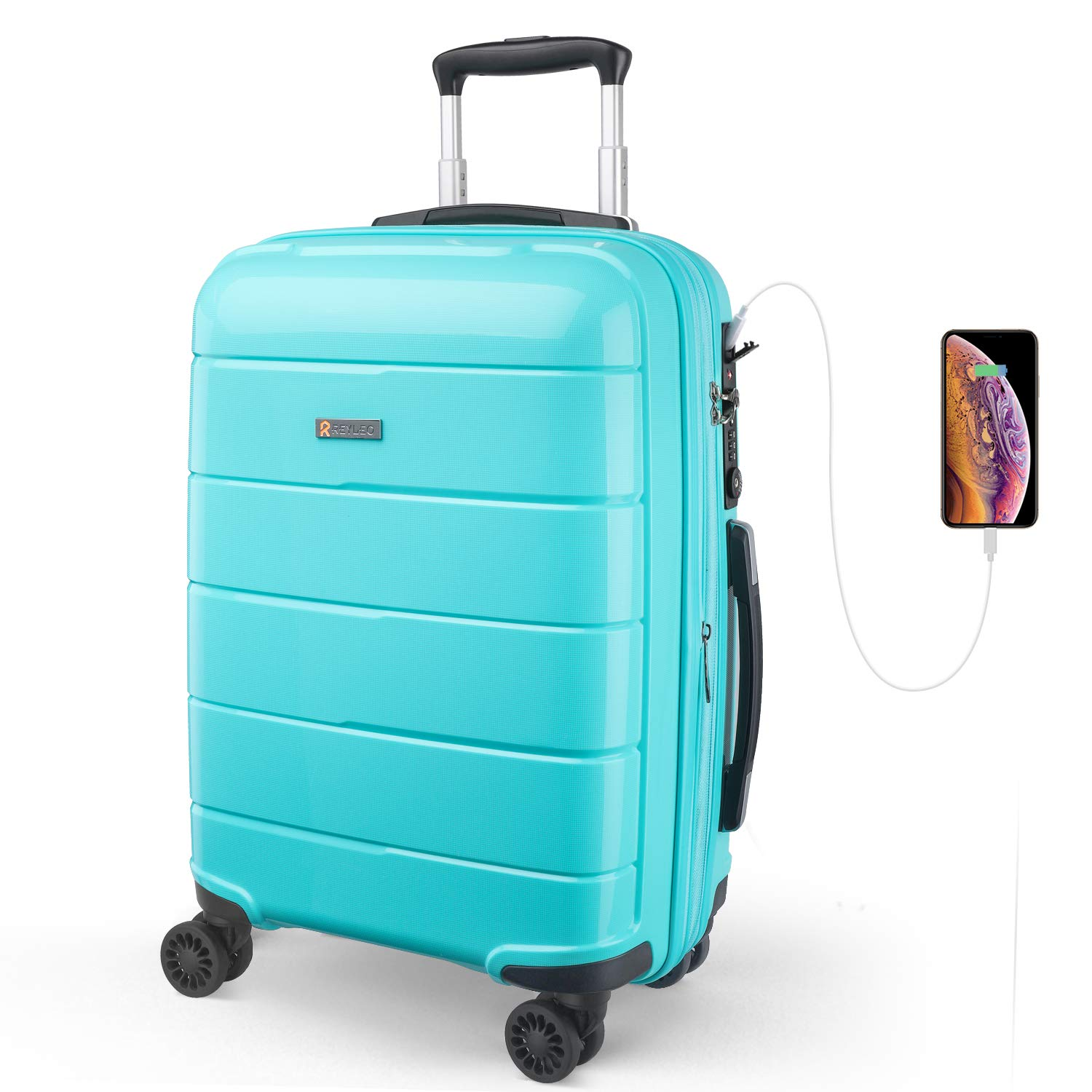 REYLEO Expandable Luggage 20 Inch PP Carry on Luggage Travel Suitcase with USB Charging Port Built-in TSA Lock 8 Silent Spinner Wheels Side Handle, Blue by REYLEO