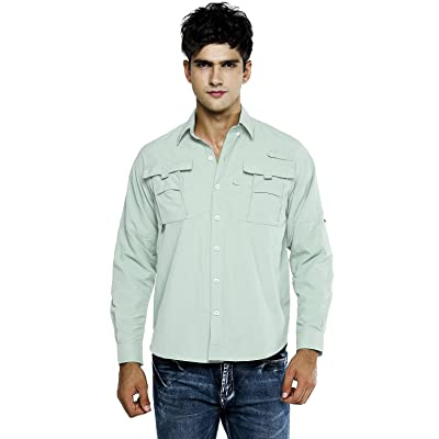 OCHENTA Men's Quick Dry Sun UV Protection Long Sleeve Shirt for Hiking Camping Fishing