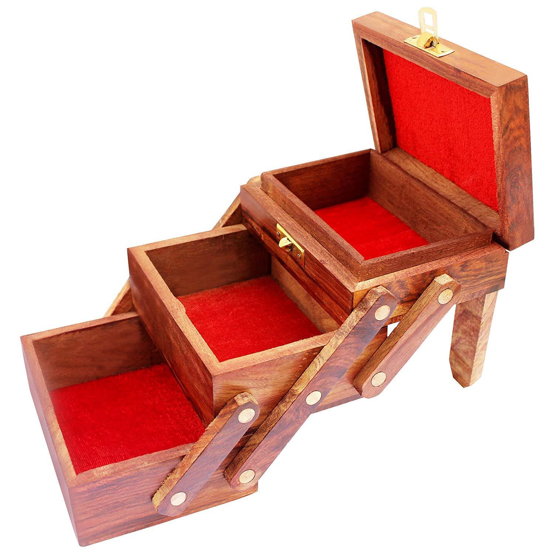 Jewelry Organizer Box Storage Vintage Box Decorative Jewelry Box Women Jewel Organizer Gift Items Handmade Wooden 3 Compartment Slide Open Box Multipurpose Storage Box Earring Box Trinket Box