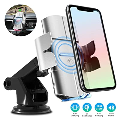 TILON Voice Prompts Wireless Car Charger, 10W Qi Fasting Charging Auto-Clamping 3 in 1 Car Mount Windshield Dashboard Air Vent Phone Holder for iPhone 11-Pro Max X-Xs Max 8/8+, Samsung S10-S8