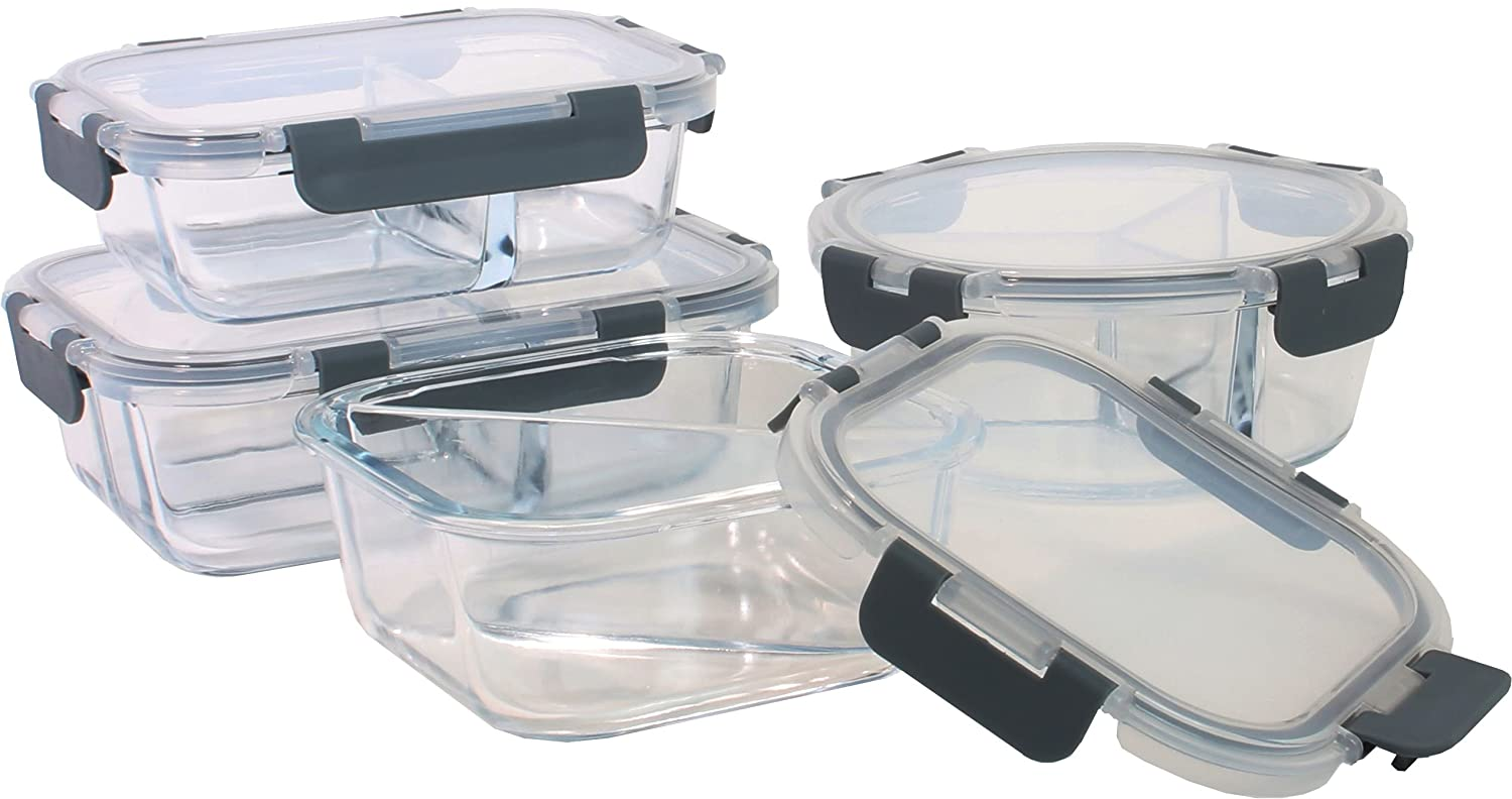 Orii GFS6608 4 piece 4pc Glass Food Storage Compartment Containers with Lids Multiple Charcoal Grey