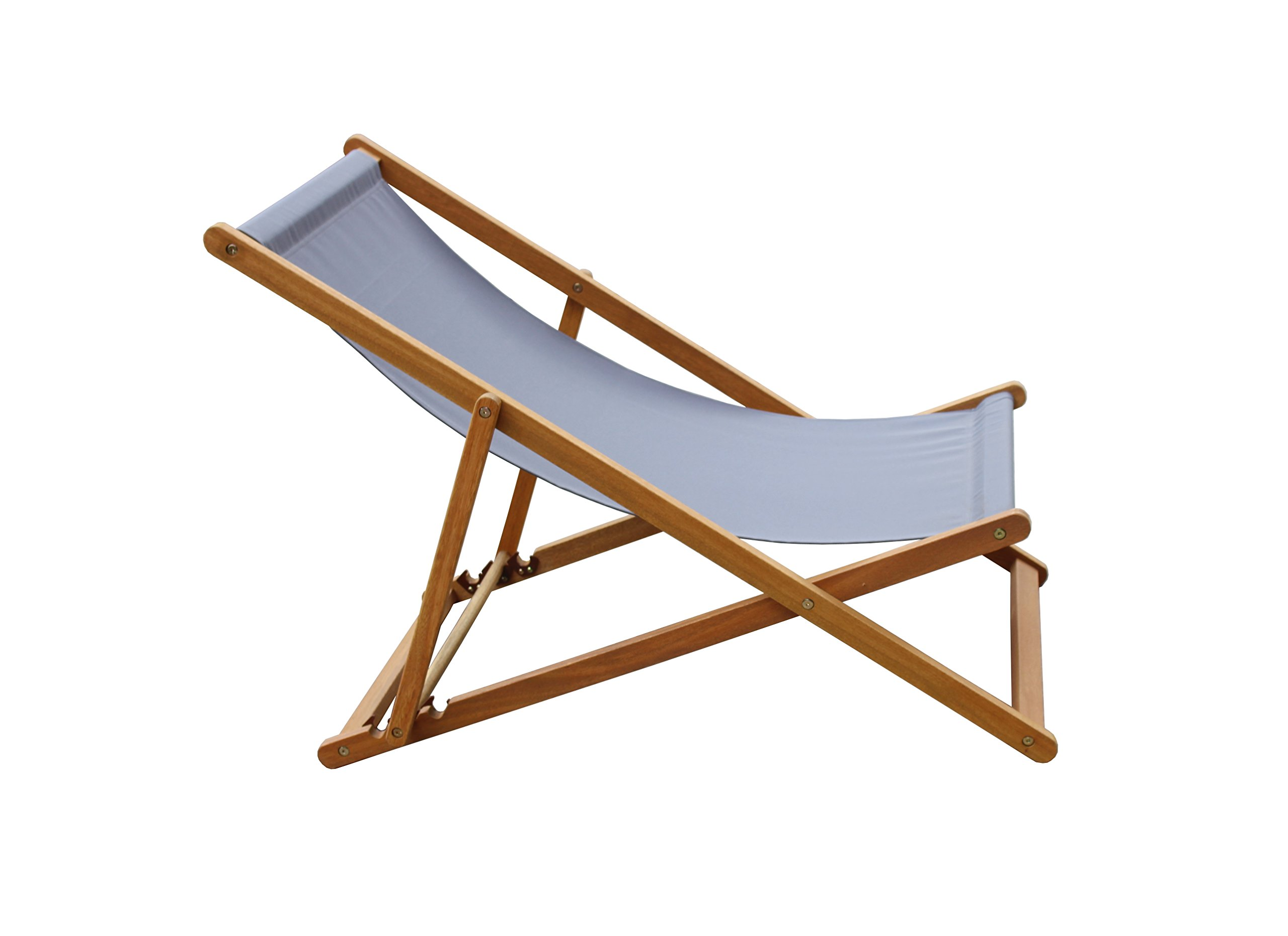 Amayo Home Solid Eucalyptus Wood Foldable Sling Chair Garden Seating, Hold 250lbs, Grey Canvas, Adjustable with 3 Reclining Positions. No Assembly. Comfortably Relax Chair in Garden Porch Pool by by Amayo Home (Image #4)