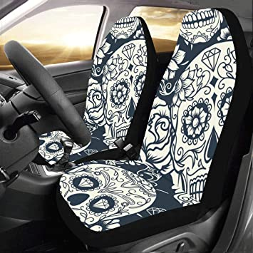 Artsadd Skull Car Seat Covers Set Of 2 Best Automobile Seats Protector