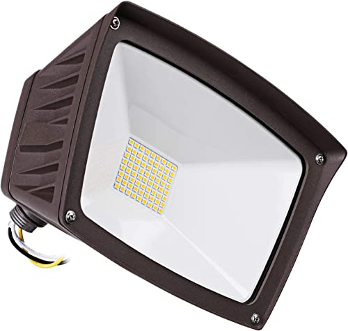LEONLITE LED Outdoor Flood Light with Knuckle Mount, 40W 350W Eqv. , 4800lm Super Bright Wall Washer Security Light, IP65 Waterproof, 3000K Warm White, for Yard Parking Lot Advertising Board
