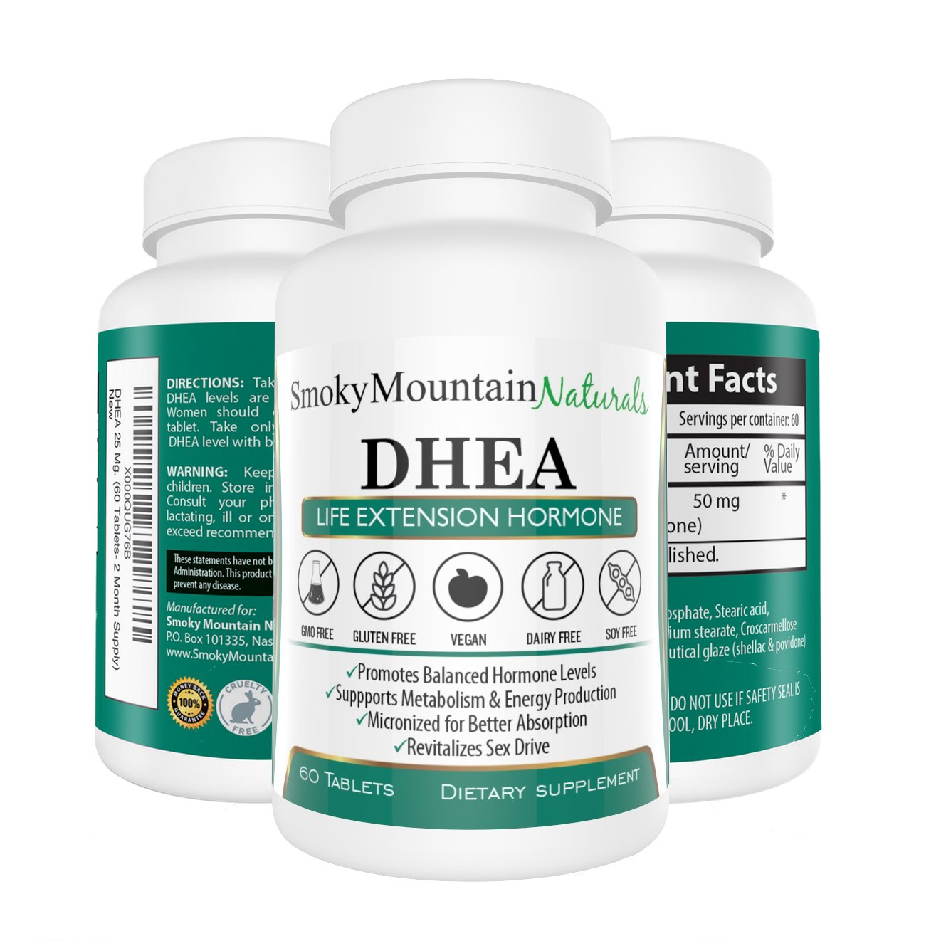 DHEA 50mg Extra Strength (2 Month Supply) Promotes Healthy Hormone Levels, Bone Strength, Sexual Functions. Soy-Free, Dairy-Free, Non-GMO and in Veggie Capsule