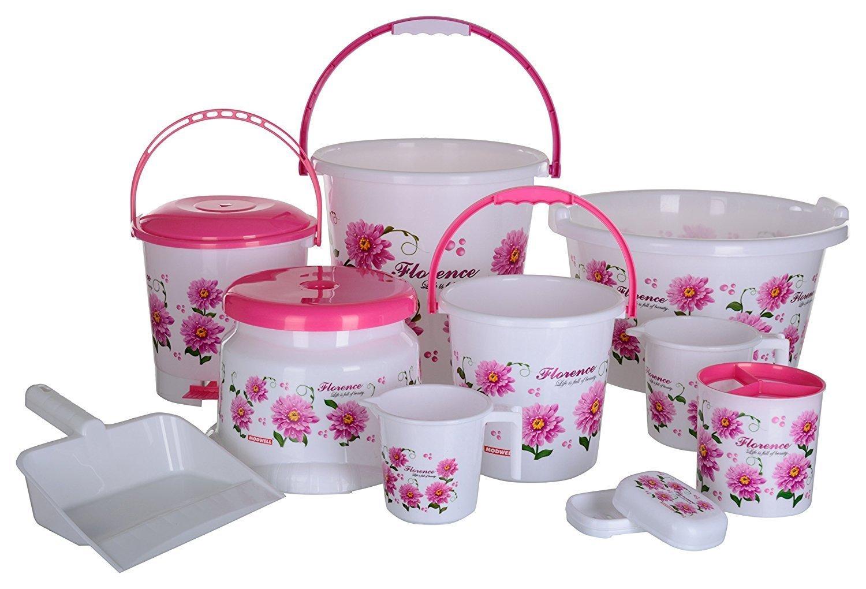 Modwell Plastic Bathroom Set, 5 Pieces, Pink by ratan marketing