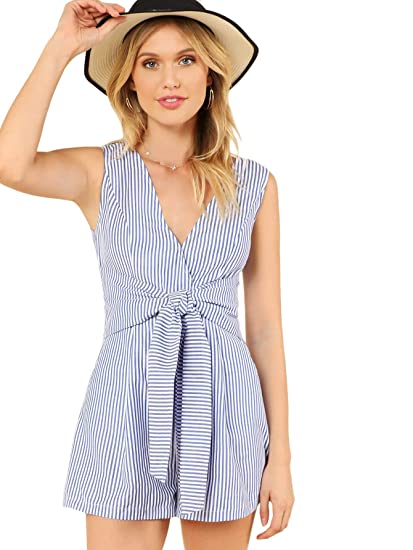 39597b3a013d Amazon.com  DIDK Women s Wrap V Neck Sleeveless Front Tie Waist Striped  Jumpsuit Romper Blue Small  Clothing