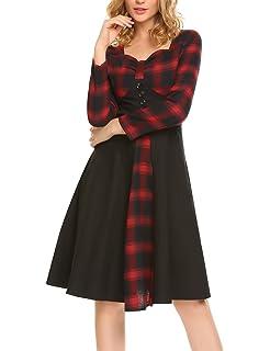 8f35cb12d88 Tecrio Women 1950 s Vintage Classy Plaid Wide Lapel Rockabilly Party Swing  Dress. 1.0 out of 5 stars 1 ·  28.57 · ACEVOG Women s Long Sleeve Plaid  Print ...