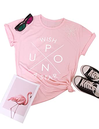 be1877146fc1 Amazon.com: SCX Women Cute Letter Print Tees Wish Upon A Star Summer Short  Sleeve T-Shirt: Clothing