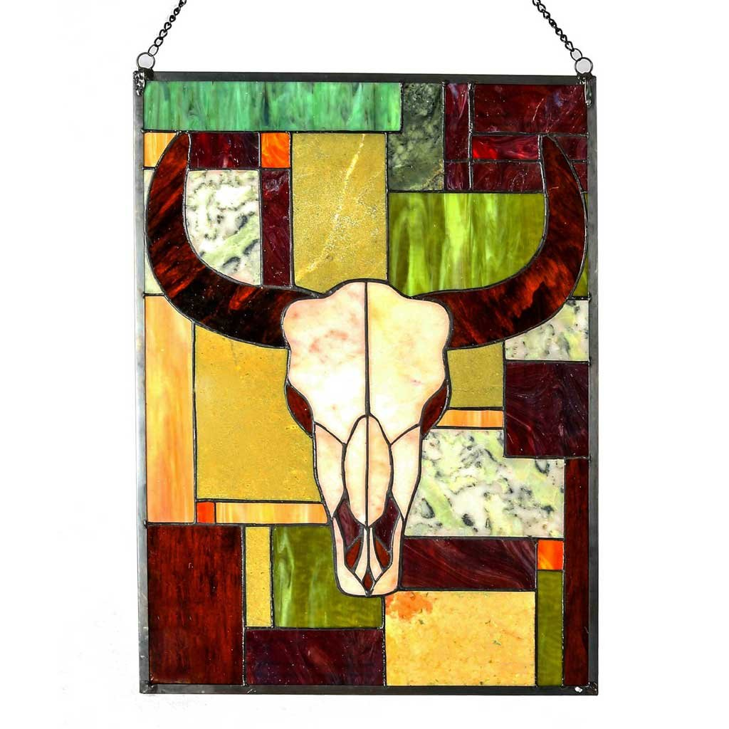 34'' Tiffany Style Stained Glass & Jade Rustic Cattle Window Panel