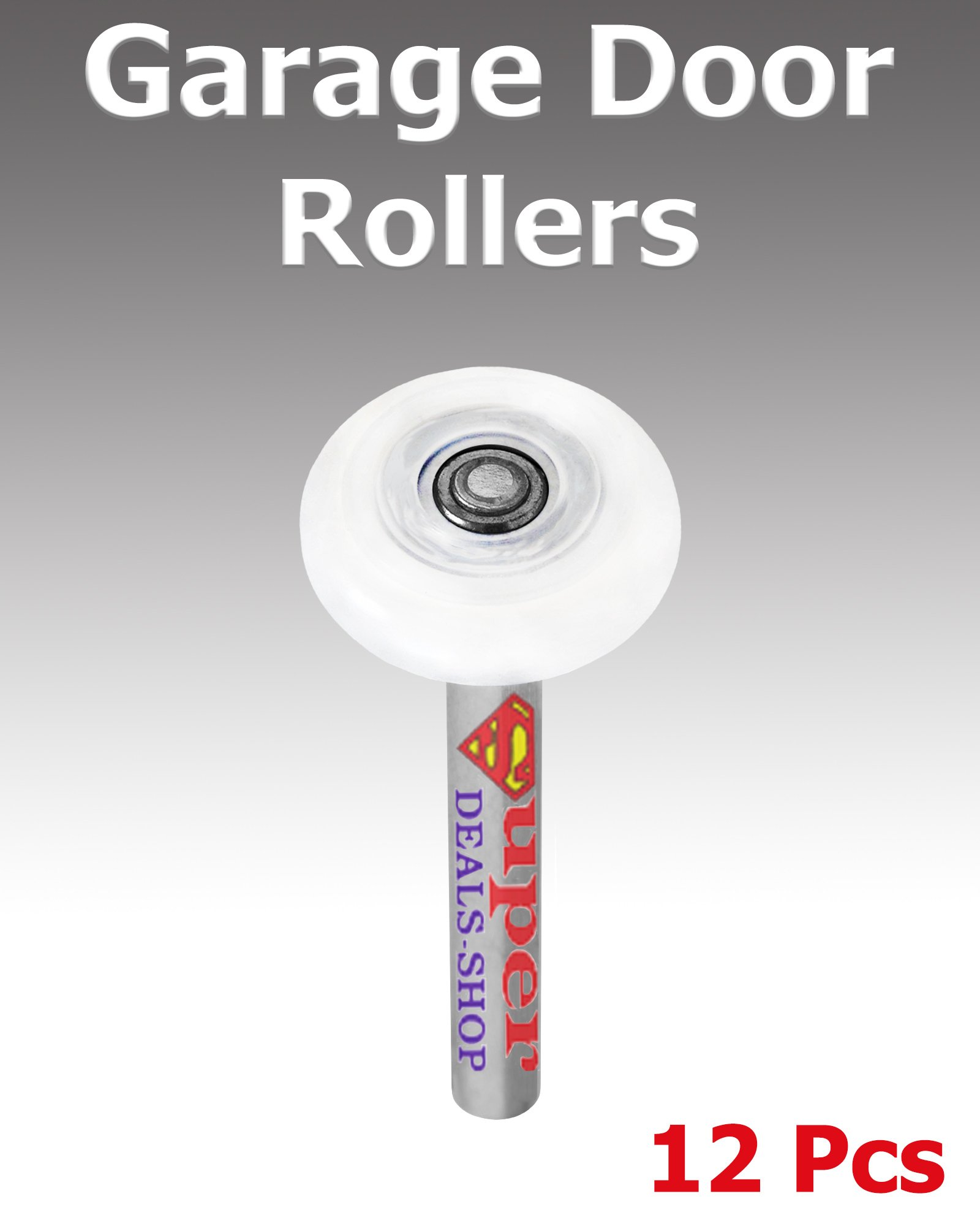 12 Pcs 2-Inch Choose Size/Quantity In Listing Nylon Garage Door Rollers Professional Grade with Precision 13-Ball Bearing and 7'' Stem Rotate Quiet and Long Life Super-Deals-Shop