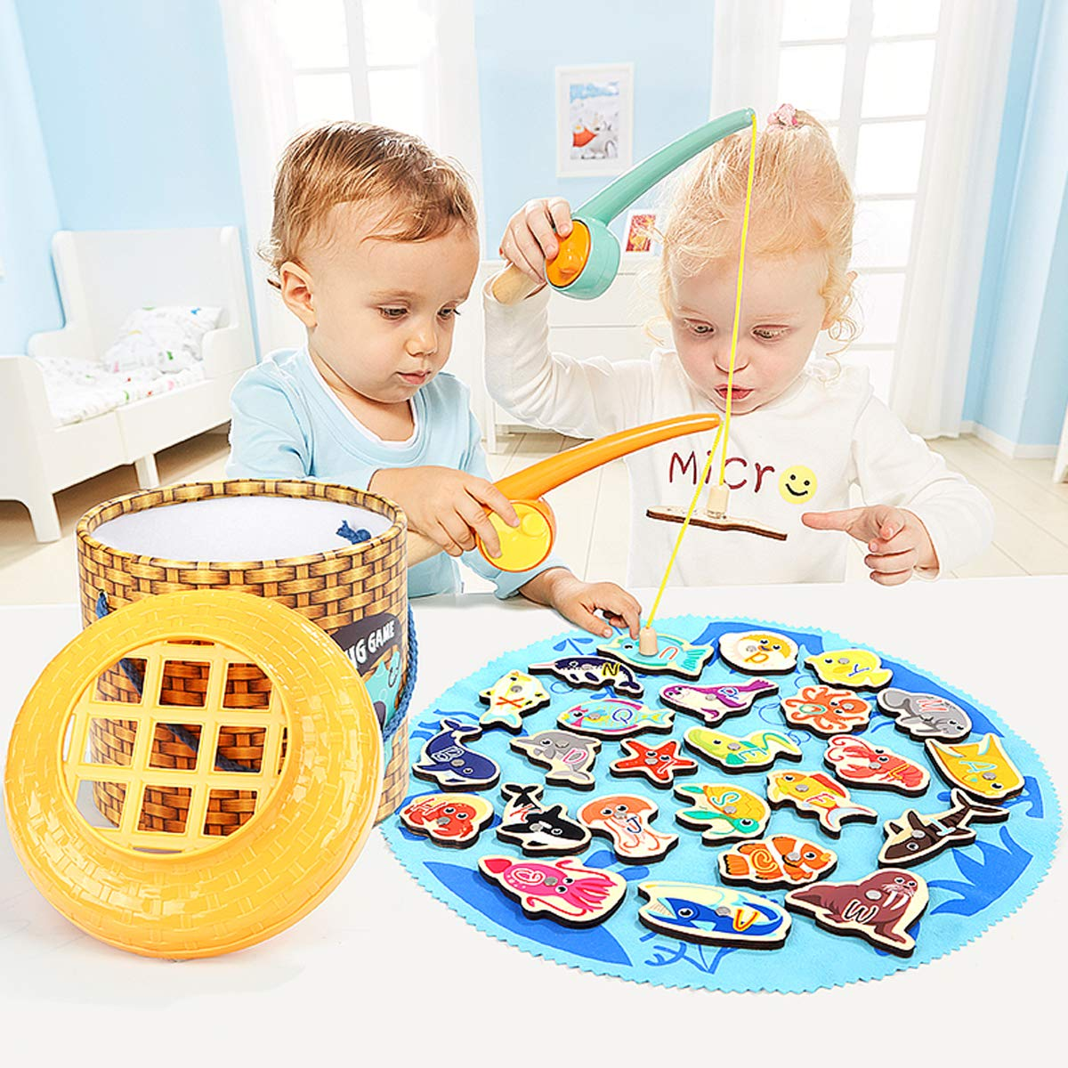 Aitey Magnetic Fishing Game Toddler Toys for 2 3 4 Year Old Boys Girls 2 Player Fishing Poles Set 26pcs Wooden Ocean Animal with Alphabet