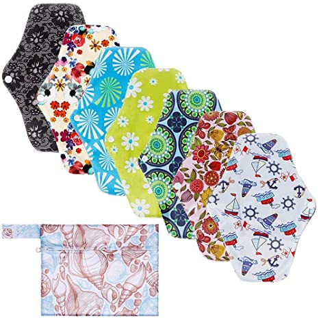 KAIMENG 7 unids Almohadillas Sanitarias Almohadillas Lavables Menstrual Paño Menstrual Toalla Reutilizable de Bambú de Carbón