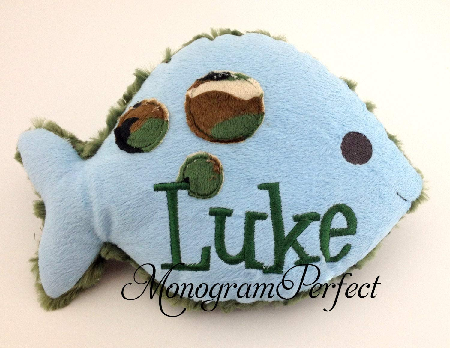 Personalized Light Baby Blue Plush /& Camo Fish Pillow Soft Toy