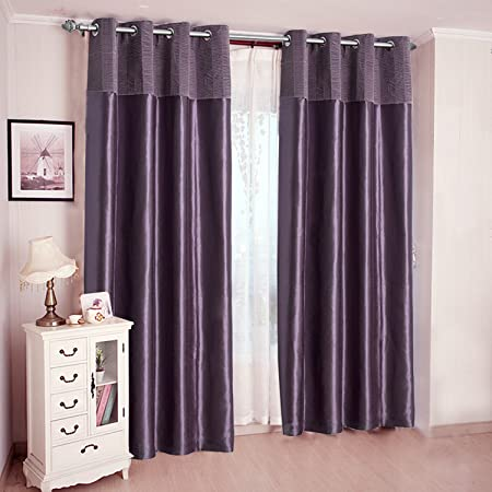 JarlHome Thermal Insulated Blackout Curtain Crumple Splicing Curtains 2 Panels with Lining 52 W x 84 L Purple for Living Room Bedroom JR932206