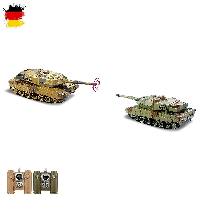 Batlle SET 2x German Leopard RC 2.4GHz ferngesteuerter mini Panzer mit Kampf, Schusssimulation, Gefechtsmodi, Komplett-Set, Neu OVP