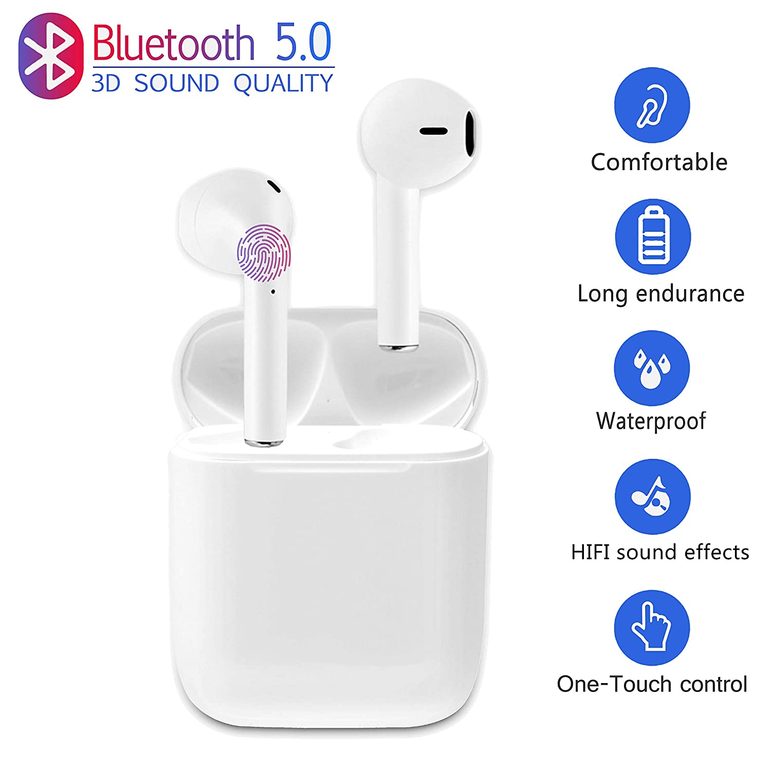 Wireless Earbuds Bluetooth 5.0 Headsets Waterproof HD Stereo Noise Cancelling Headphones with Built-in Mic and Fast Charging Case For Airpods Iphone X Xs Max Samsung Apple Android